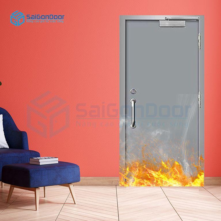 Cửa thép có tay kéo cửa cùng tay đẩy hơi